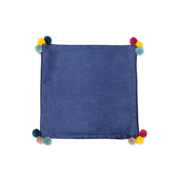 Niebieska poduszka Casa Di Bassi Pom Pom,40x40cm