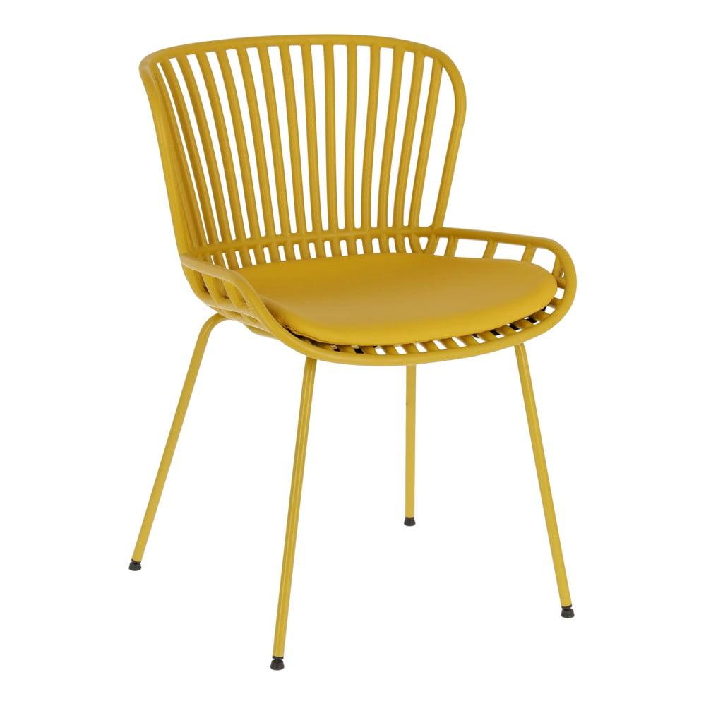 Musztardowe krzesło ogrodowe ze stalową konstrukcją La Forma Surpik