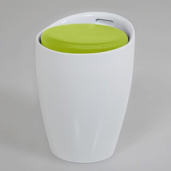 Biało-limetkowy stołek ze schowkiem Actona Minxie