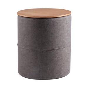 Ciemnoszary stolik z blatem w dekorze drewna dębowego sømcasa Leo