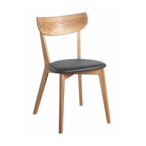 Krzesło dębowe z czarnym siedziskiem Folke Aegi