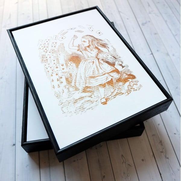 Plakat w drewnianej ramie Alice in Wonderland Playing Cards