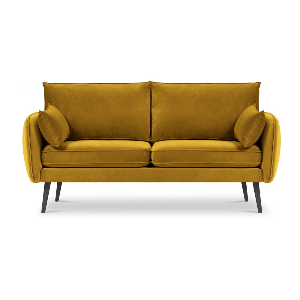 Żółta aksamitna sofa Kooko Home Lento, 158 cm