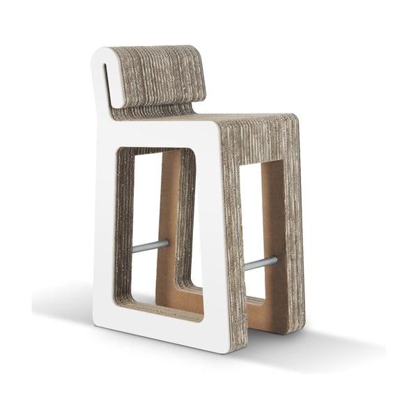 Barowe kartonowe krzesło Hook Stool White