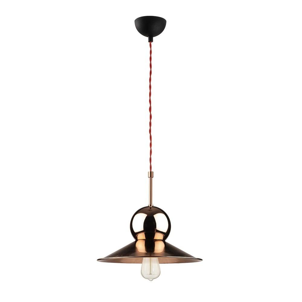Czarna metalowa lampa wisząca w kolorze miedzi Opviq lights Stathis