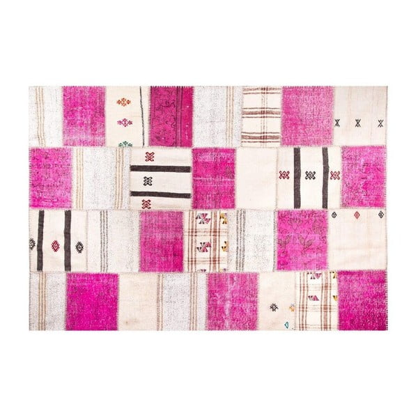 Dywan wełniany Allmode Kilim Pink, 200x140 cm