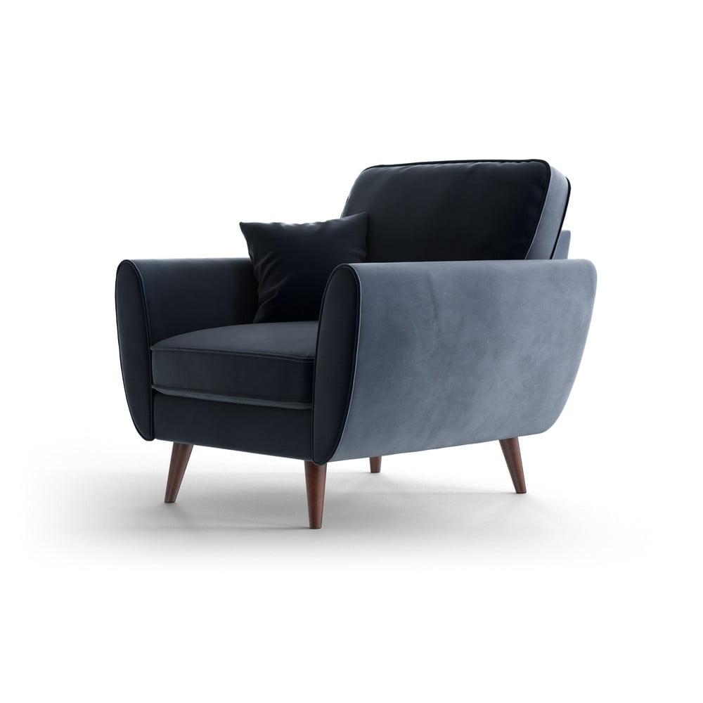 Ciemnoniebieski aksamitny fotel My Pop Design Auteuil