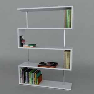 Biblioteczka Sunrise Book White, 22x90x129 cm