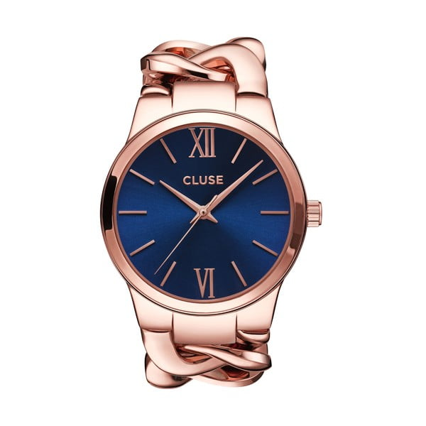 Zegarek damski Elegante Rose Gold/Royal Blue, 38 mm