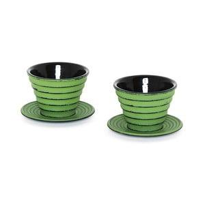 Zestaw 2 filiżanek ze spodkiem Fade Japan Tea Green