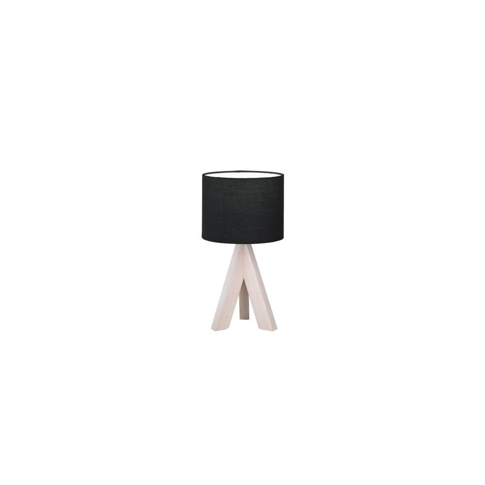 Czarna lampa stołowa z naturalnego drewna i tkaniny Trio Ging, wys. 31 cm