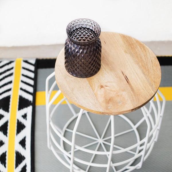 Biały stolik z drewnianym blatem HF Living Peak