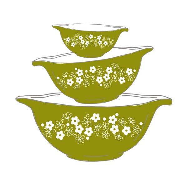 Plakat w drewnianej ramie Green bowls, 38x28 cm