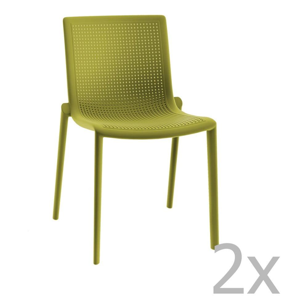 Zestaw 2 zielonych krzeseł ogrodowych Resol Beekat Simple