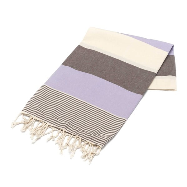 Ręcznik hammam American Stripes Lilac & Brown, 100x180 cm