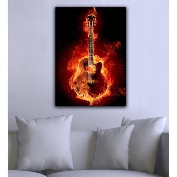 Obraz Gitara w ogniu, 45x70 cm