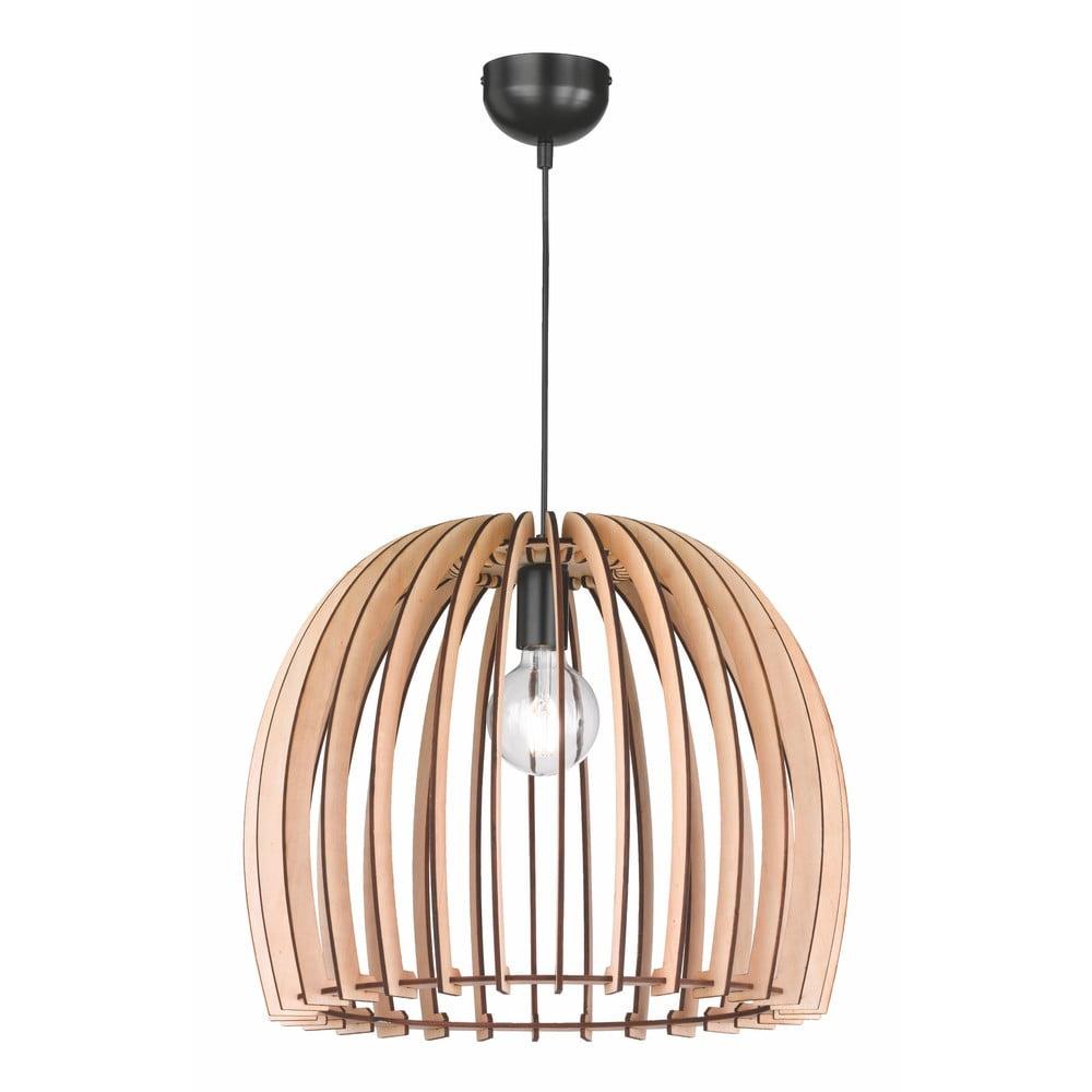 Kremowa lampa wisząca z drewna i metalu Trio Wood, wys. 150 cm
