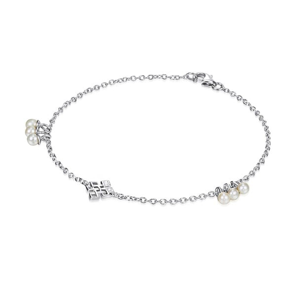 Srebrna   bransoletka z perłami i zawieszką Chakra Pearls Done, 19 cm
