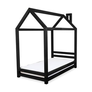 Czarne łożko dziecięce z drewna sosnowego Benlemi Happy,80x160cm