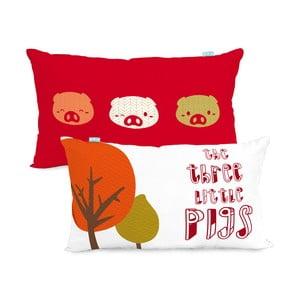 Dwustronna poszewka bawełniana na poduszkę Mr. Fox Little Pigs, 50x30cm