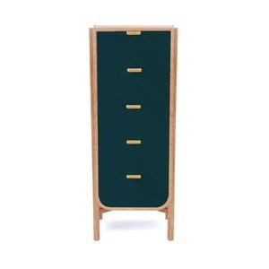 Niebieskozielona komoda z drewna dębowego z 5 szufladami Harto Marius