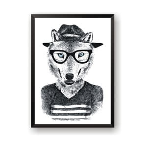 Plakat Nord & Co Hipster Wolf, 21x29 cm