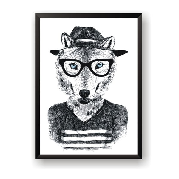 Plakat Nord & Co Hipster Wolf, 40x50 cm