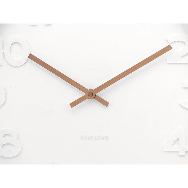 Biały zegar Present Time Minimal Copper