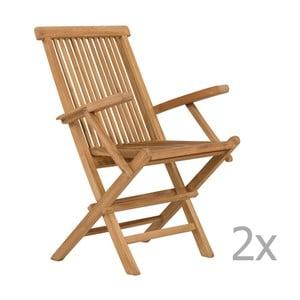 Zestaw 2 krzeseł ogrodowych z drewna tekowego SOB Garden