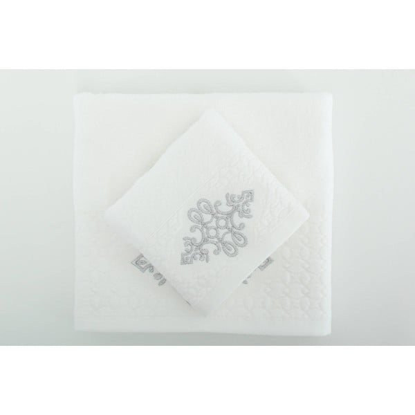 Komplet 2 ręczników Isle White Silver, 30x50 cm/50x90 cm