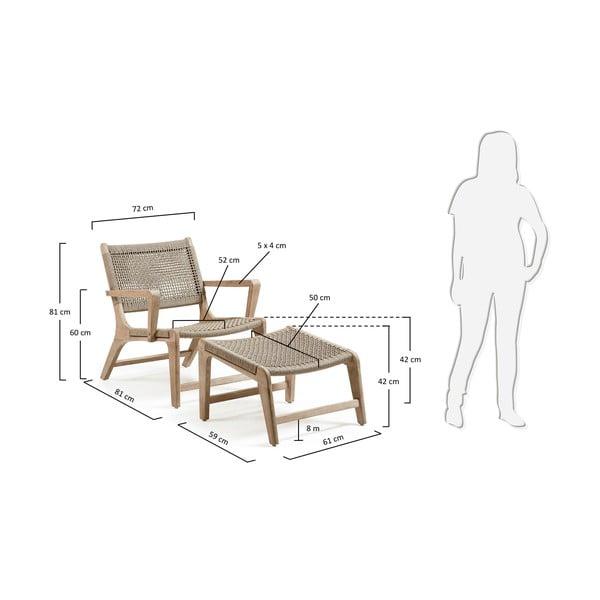 Fotel ogrodowy z podnóżkiem Bastien