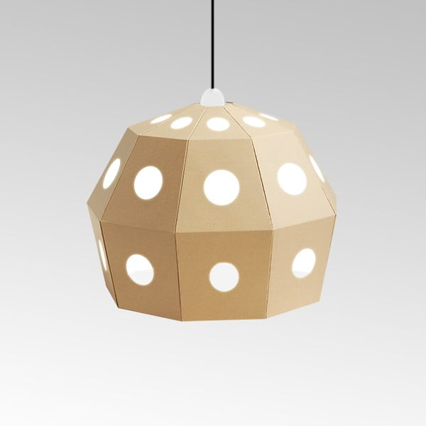 Kartonowa lampa Uno Fantasia B Natural, z czarnym kablem