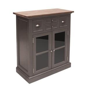 Szara przeszklona komoda Canett Royal Closet, 4 szuflady