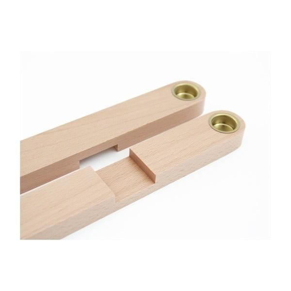 Świecznik drewniany SNUG.Cross, naturalny