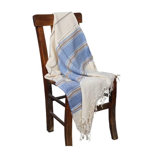 Niebieski ręcznik hammam Veronica Blue, 90x190cm