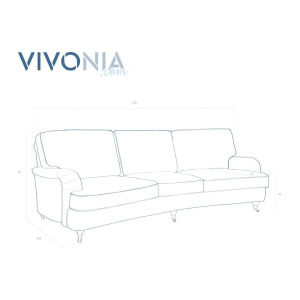 Brązowa sofa 3-osobowa Vivonita William