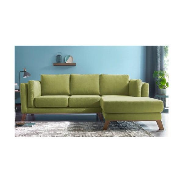 Jasnozielona sofa z szezlongiem po prawej stronie Bobochic Paris Seattle
