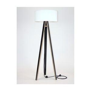 Czarna lampa stojąca z białym abażurem i czarnym kablem Ragaba Wanda