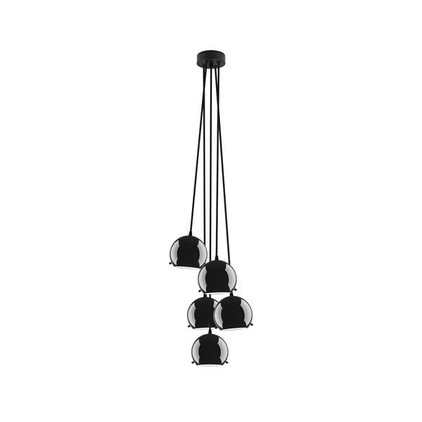 Czarna błyszcząca lampa wisząca Sotto Luce Myoo, 5 lampek