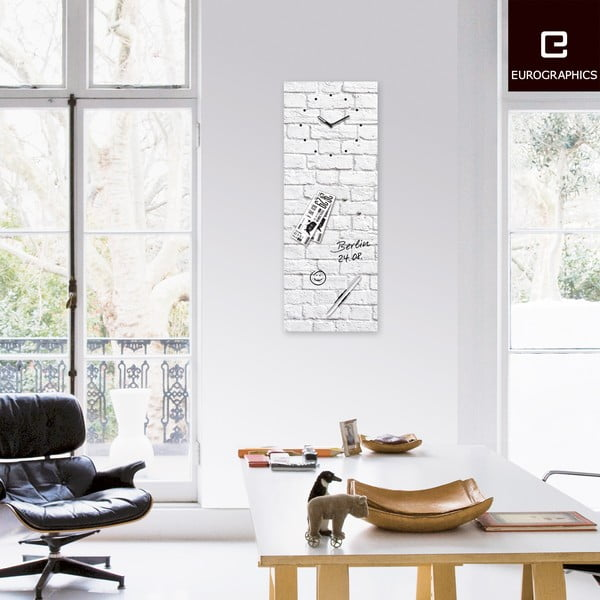 Tablica magnetyczna z zegarem Eurographic White Brick, 30x80 cm