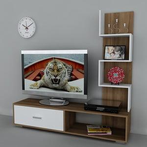 Stolik telewizyjny z regałem Akay Walnut/White, 39x160x160 cm