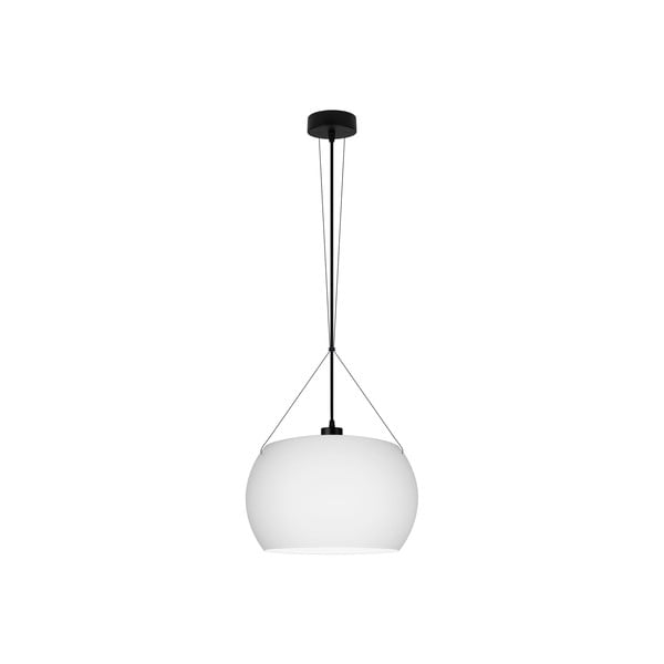 Biała lampa wisząca z czarnym kablem Sotto Luce MOMO