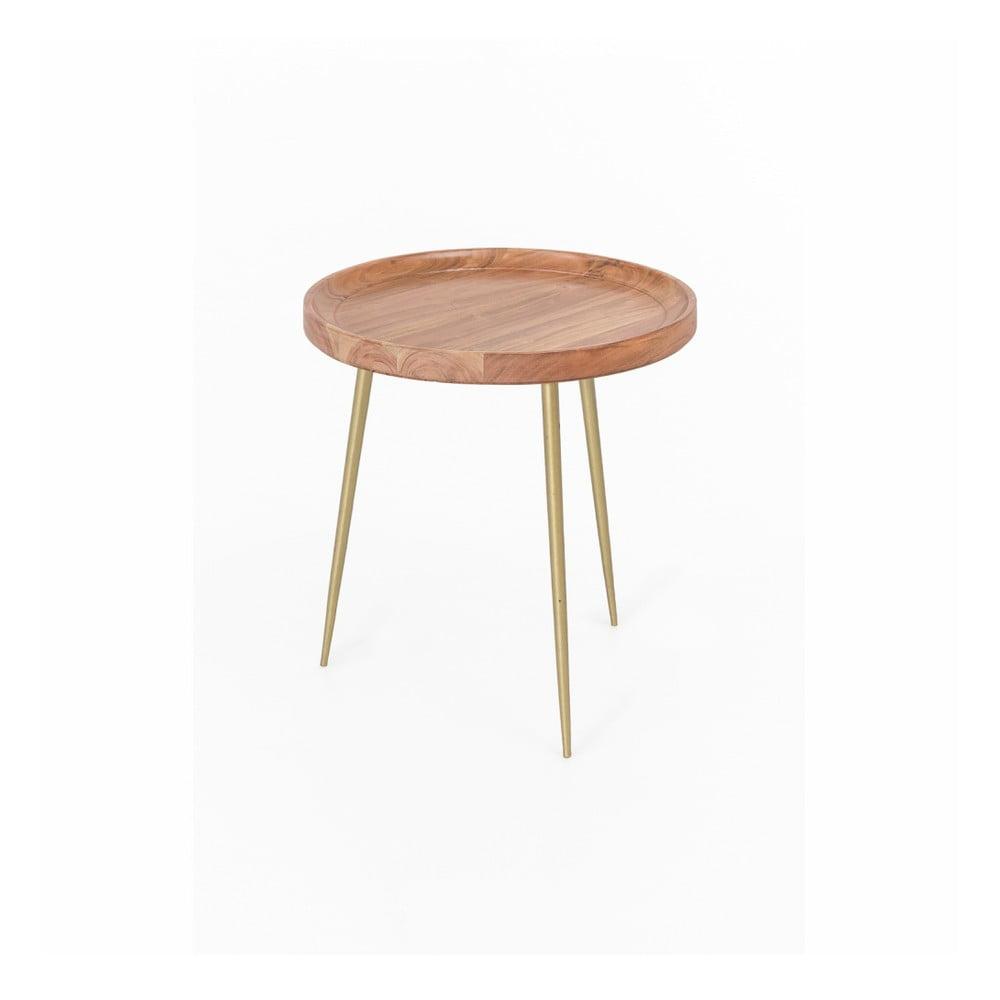 Stolik z drewna akacjowego WOOX LIVING Noah, ⌀ 46 cm