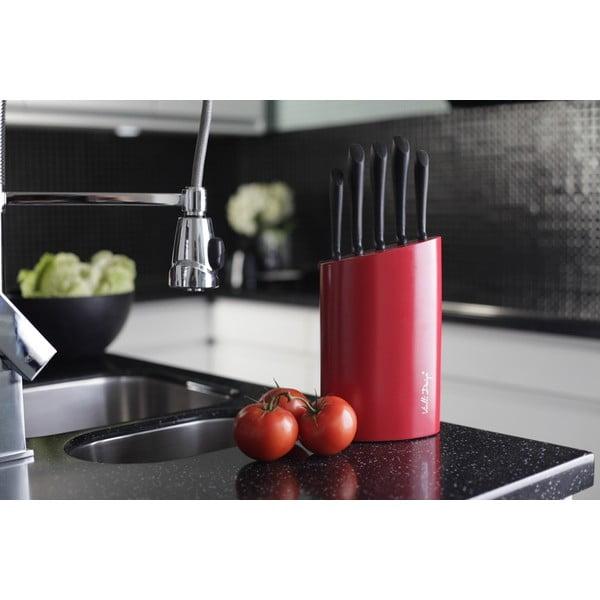 Czerwony blok z 5 nożami Vialli Design