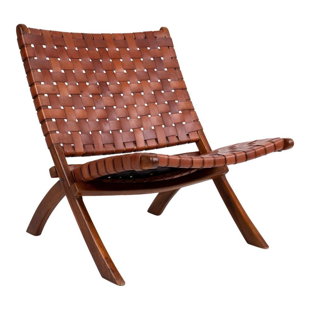 Krzesło składane z drewna tekowego i skóry House Nordic Montana