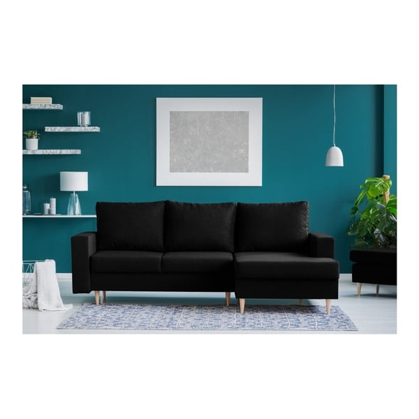 Czarna sofa rozkładana z szezlongiem po prawej stronie Mazzini Sofas Iris