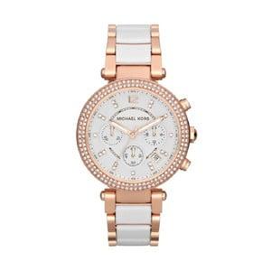 Biały zegarek damski z elementami w kolorze różowego złota Michael Kors Hanah