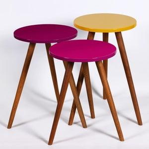 Zestaw 3 stolików Kate Louise Round (fioletowy, żółty)