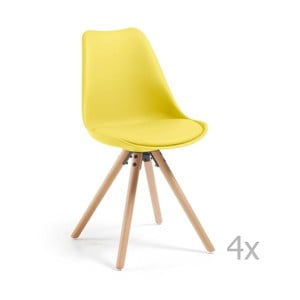 Zestaw 4 żółtych krzeseł do jadalni z drewnianymi nogami La Forma Lars