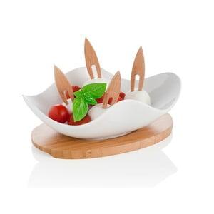Miska do serwowania na drewnianej podkładce z 4 wykałaczkami Brandani Nuvola